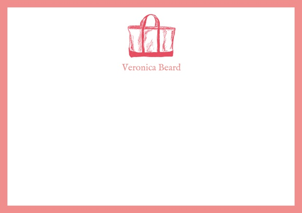 Customizable online note card with beach bag and frame in various colors. Pink.