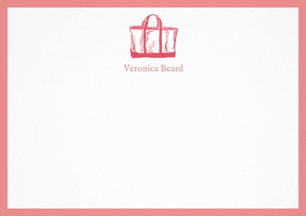 Customizable note card with beach bag and frame in various colors. Pink.