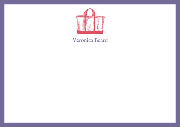 Customizable online note card with beach bag and frame in various colors. Purple.