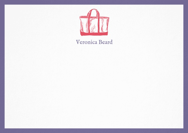 Customizable note card with beach bag and frame in various colors. Purple.