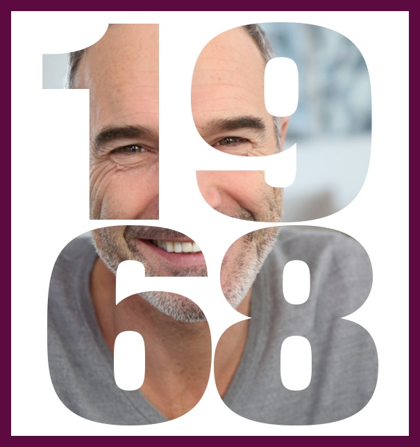 Online Invitation Card With Cut Out 1968 For Your Own Photo To Celebrate 50th Birthday