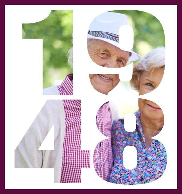 70th Birthday Online Large Invitation Card With Cut Out 1948 For Your Own Photo Purple