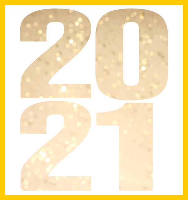 Online invitation card with cut out large 2021 for your own photo Yellow.