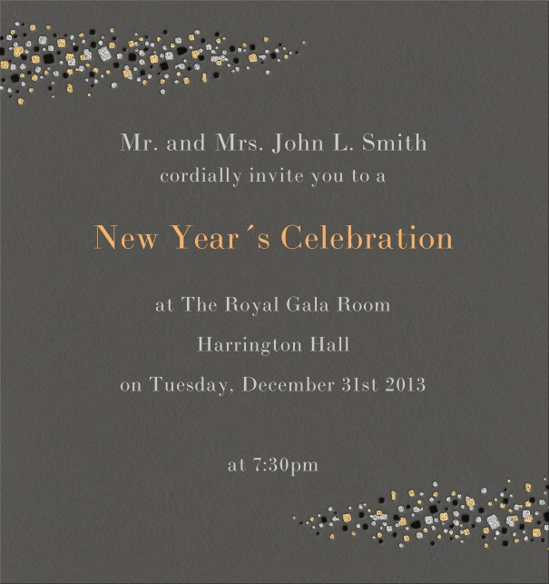 Grey celebration high format invitation card with milky way stars left and right on card.