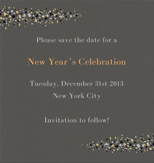 High Dark Tan Celebration Save the Date Card with New Year's eve Theme and Star Header and Footer.