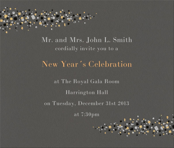Grey celebration square format invitation card with milky way stars left and right on card.