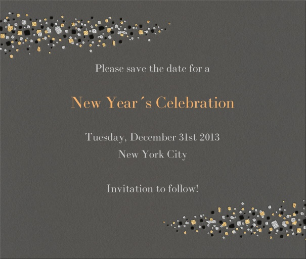 Dark Tan Celebration Save the Date Card with New Year's eve Theme and Star Header and Footer.