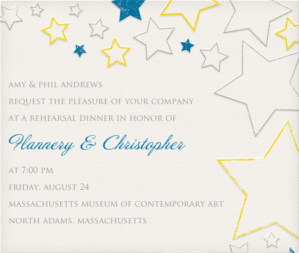 White Party Invitation with white, blue and gold star design.