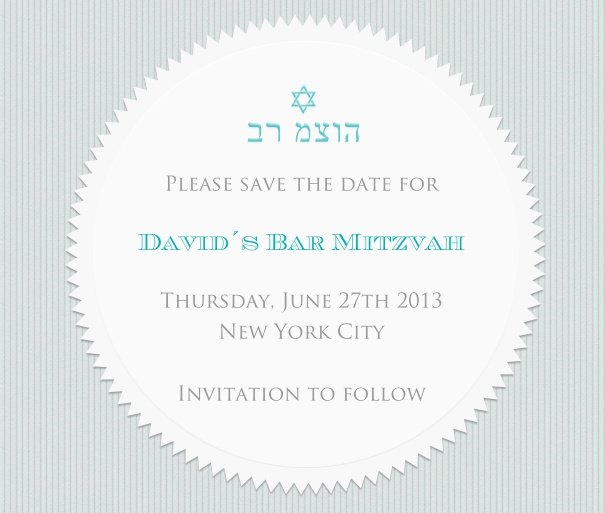 White Bar Mitzvah or Bat Mitzvah save the date customized with Hebrew and Star of David.