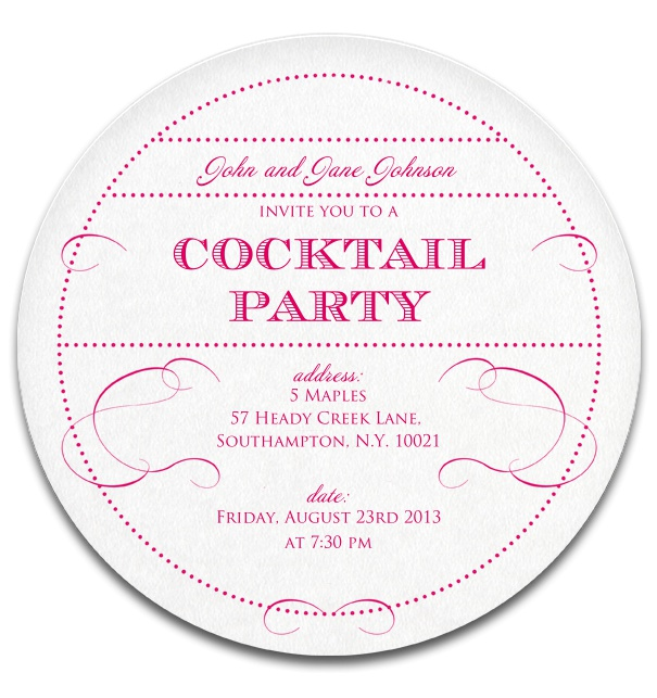 Round Cocktail Party Invitation.
