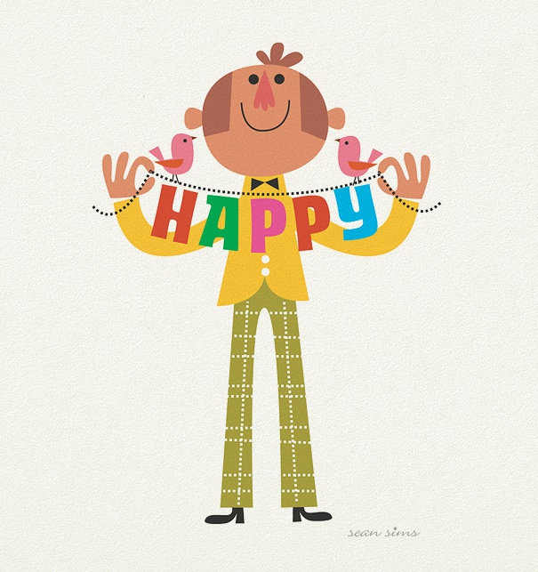 "Kids Birthday Invitation Card with man and the colorful header ""Happy""."