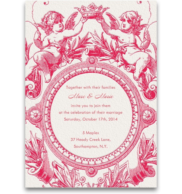 Pink, spring-like Wedding Invitation template with precious spring ornaments.