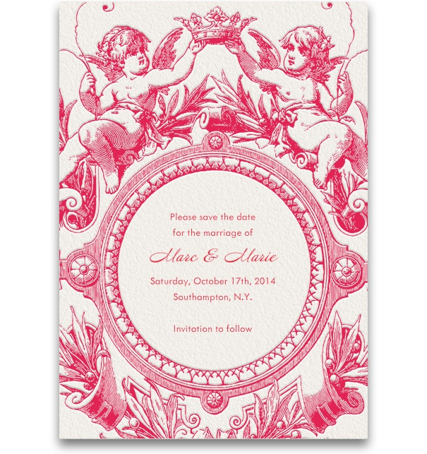 Pink, spring-like Save the Date Card for weddings with ornaments.