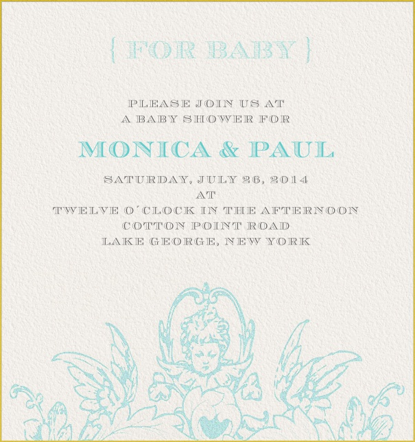 Beige Online Wedding Invitation with blue text and angel.