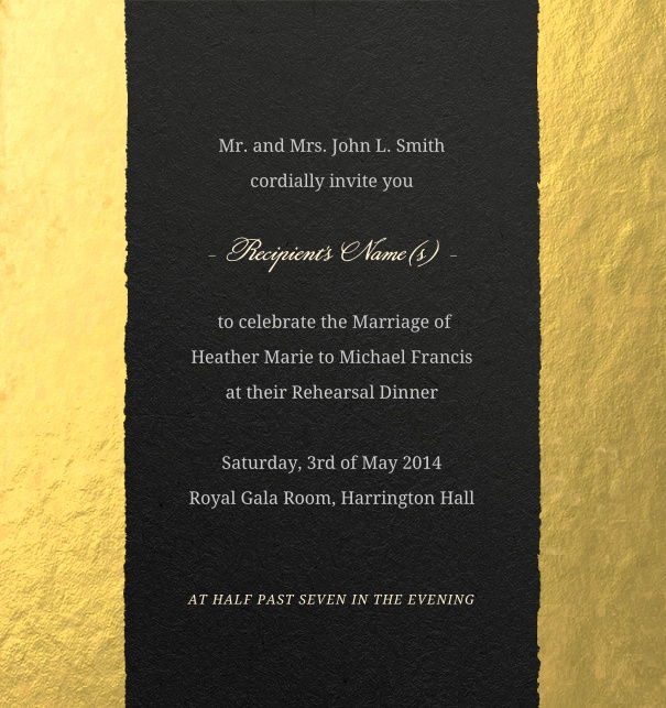 Gold Modern Formal Wedding Invitation with tear design.