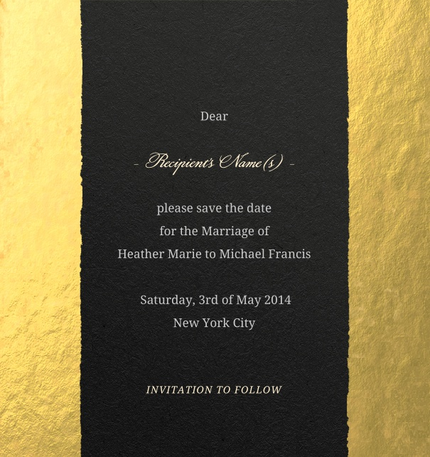 Gold Modern Formal Wedding Save the Date Card with tear design.