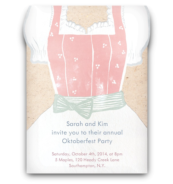 Hand drawn Light dirndl dress Oktoberfest invitation card.