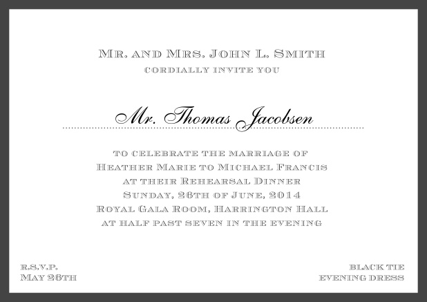 Online classic invitation card with frame and line for the recipient's name. Black.