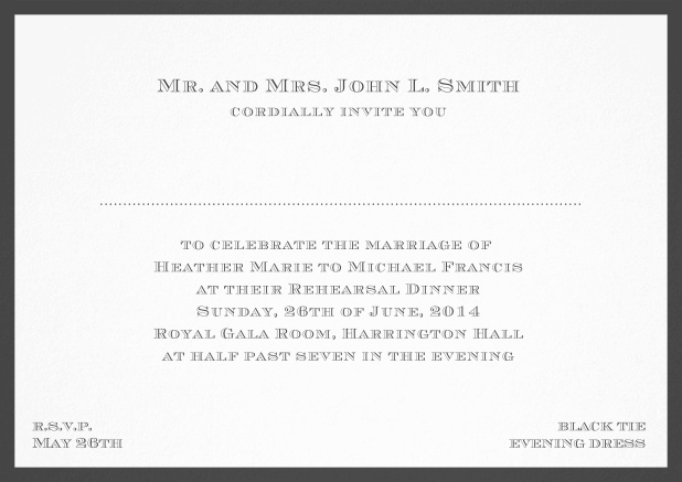 Classic invitation card with frame and place for guest's names - available in different colors. Black.