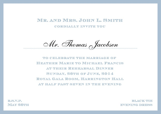 Online classic invitation card with frame and line for the recipient's name. Blue.