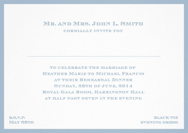Classic invitation card with frame and place for guest's names - available in different colors. Blue.