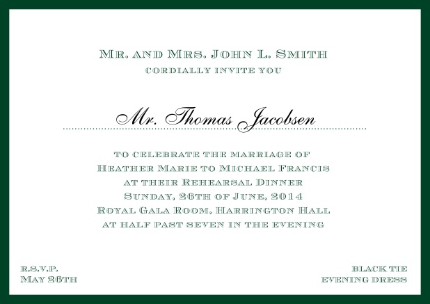 Online classic invitation card with frame and line for the recipient's name. Green.