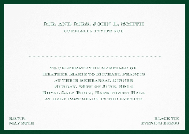 Classic invitation card with frame and place for guest's names - available in different colors. Green.