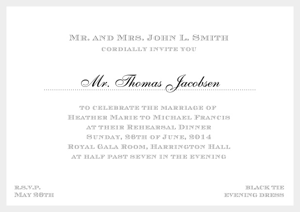 Online classic invitation card with frame and line for the recipient's name. Grey.