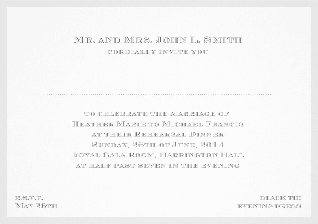 Classic invitation card with frame and place for guest's names - available in different colors. Grey.