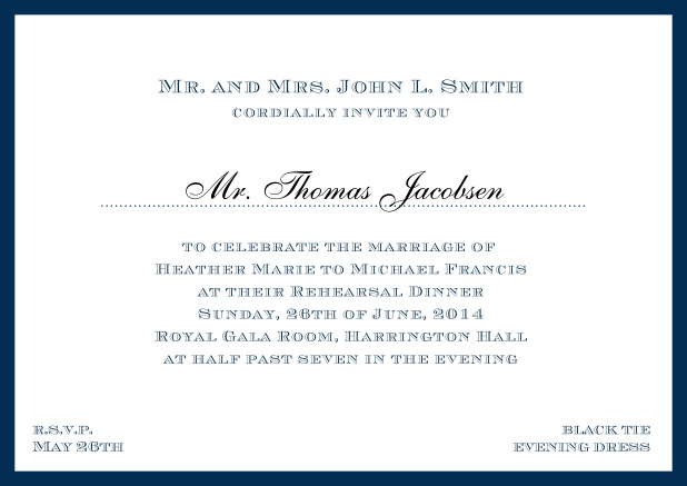 Online classic invitation card with frame and line for the recipient's name. Navy.