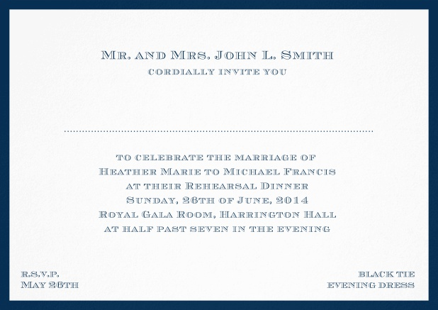Classic invitation card with frame and place for guest's names - available in different colors. Navy.