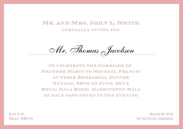 Online classic invitation card with frame and line for the recipient's name. Pink.