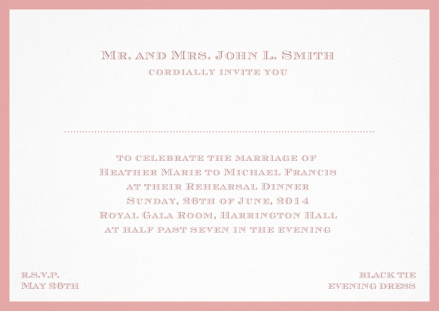 Classic invitation card with frame and place for guest's names - available in different colors. Pink.