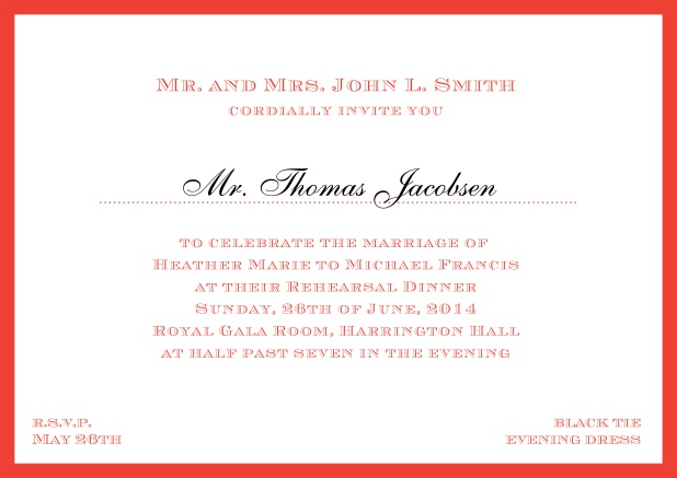 Online classic invitation card with frame and line for the recipient's name. Red.
