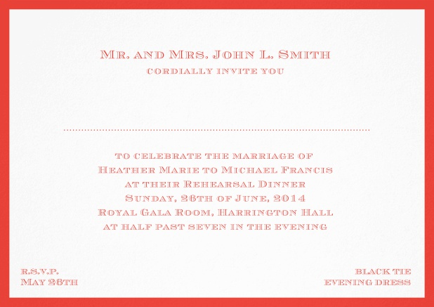 Classic invitation card with frame and place for guest's names - available in different colors. Red.