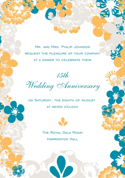 Wedding anniversary invitation card with colorful flower frame.