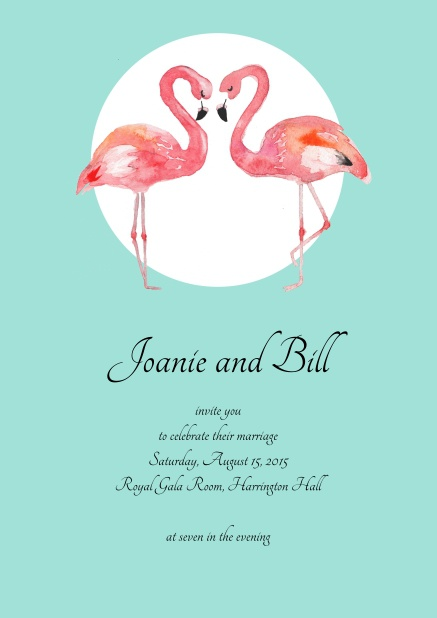 Turquoise online invitation with two flamingos.