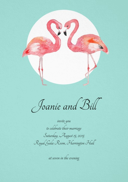 Turquoise invitation card with two flamingos.