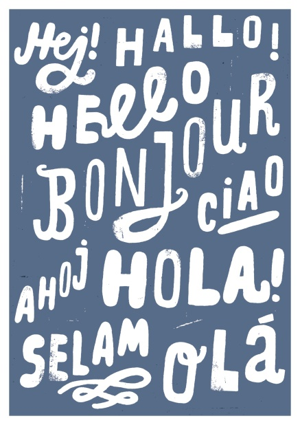 "Online Greeting card with the word ""hello"" in different languages."