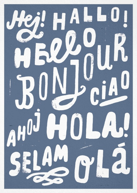 "Greeting card with the word ""hello"" in different languages."