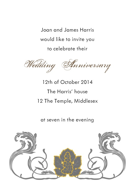 Online invitation card with art deco design elements.