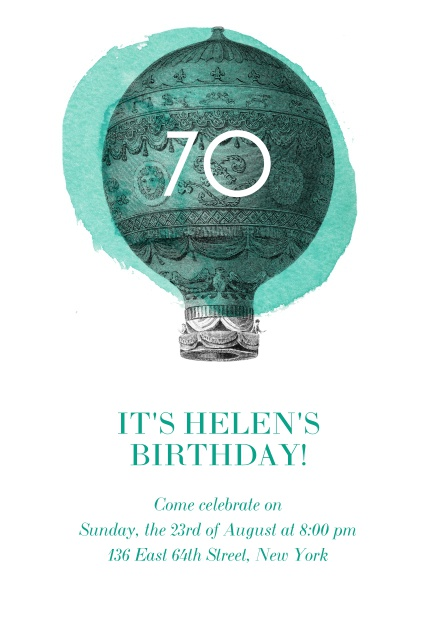Online 70th Birthday Invitation Card With A Hot Air Balloon And Editable Text