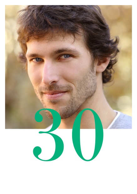 Online 30th Birthday Invitation Card With Photo And Editable Number Half On The Green