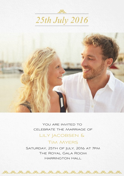 Wedding invitation card with date, photo and text. Yellow.