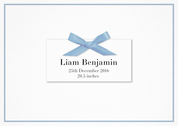 Paper Birth announcement with PRINTED blue ribbon and matching blue line frame and photo inside left.