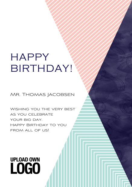 Online Corporate Birthday Greeting Card With Large Rosa Blu And Dark Triangle Elements