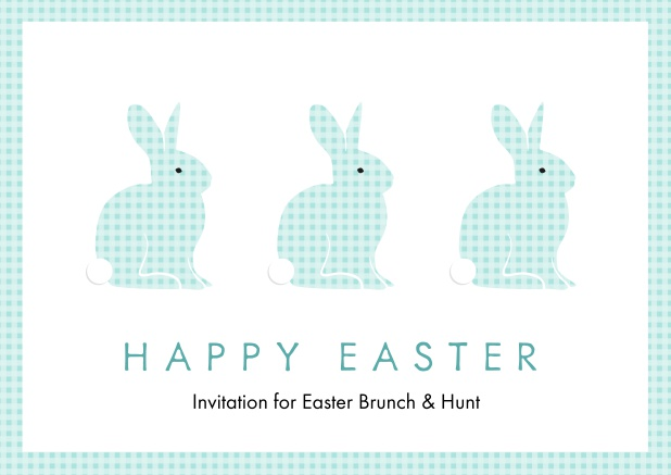 A lively card with three blue Easter bunnies, perfect for Online Easter invitations Blue.