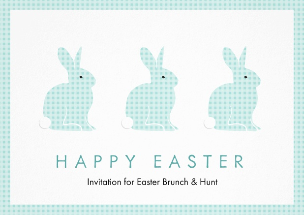 A lively card with three blue Easter bunnies, perfect for Easter invitations Blue.