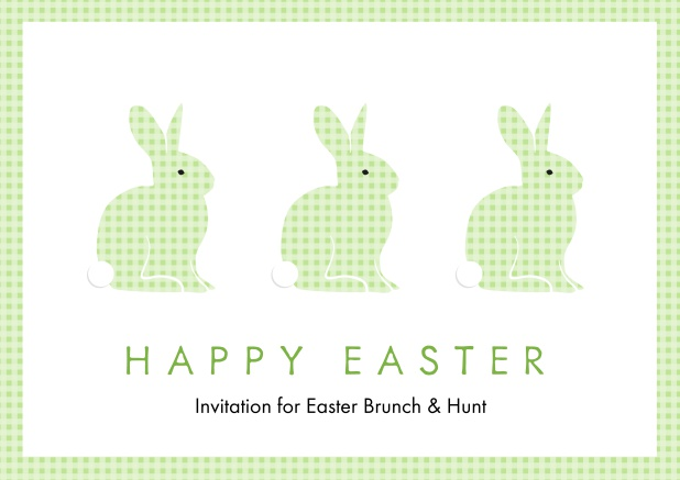 A lively card with three blue Easter bunnies, perfect for Online Easter invitations Green.