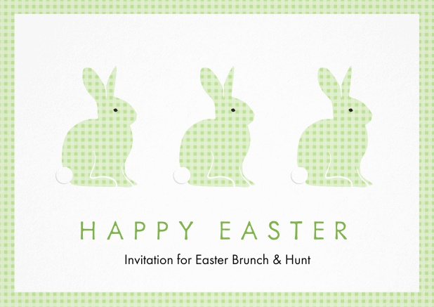 A lively card with three blue Easter bunnies, perfect for Easter invitations Green.